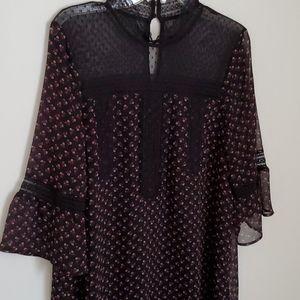 Express Black Sheer and Floral Shift Dress size L
